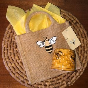 Jute Bee Gift Bag with Bee ceramic glazed pottery